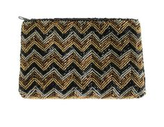 Vintage Neiman Marcus Beaded Evening Bag Coin Purse Makeup Bag Pouch. Beautiful beaded zig zag pattern in black, silver, and bronze beads. In