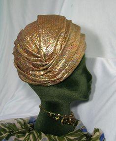 Vintage Art Deco Revival Gold Lame Turban Hat by neyneystreasures, $54.00
