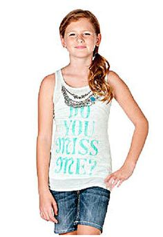 "Miss Me Girls ""Do You"" Necklace Tank Girls Size Large NWT #MissMe"