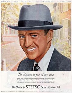 0 David Niven in The Elusive Pimpernel for Stetson Hats ad 1949 Celebrity Advertising, Retro Advertising, Retro Ads, Vintage Advertisements, Vintage Ads, Vintage Prints, Vintage Movies, Vintage Style, Vintage Fashion