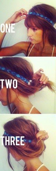 Messy easy updo hairband. A very boho look
