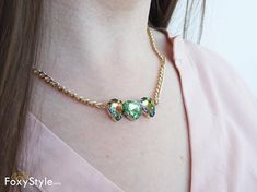 crystal necklace chain necklace boho necklace green necklace