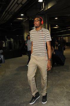 Kevin Durant, striped shirt, red headphones, Oklahoma City Thunder