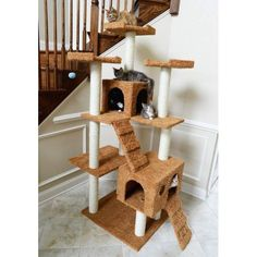 Cat Tower with 10 Scratching Posts, Three Perches & Two Condos Cat Tree House, Cat Tree Condo, Cat Condo, Cat Wall Furniture, Tree Furniture, Oak Wall Shelves, Cat Window Perch, Large Cat Tree, Cat Cube