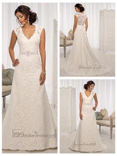 elegant-cap-sleeves-v-neck-a-line-wedding-dresses-with-illusion-back.jpg (900×1200)