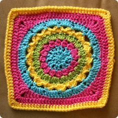 Eeek I hope I can get the square from today done so I can get caught up. So anywho, here is the square for May I may need to do some different color combinations for the next one. Granny Square Crochet Pattern, Crochet Stitches Patterns, Crochet Squares, Crochet Granny, Crochet Motif, Stitch Patterns, Knit Crochet, Granny Squares, Love Crochet