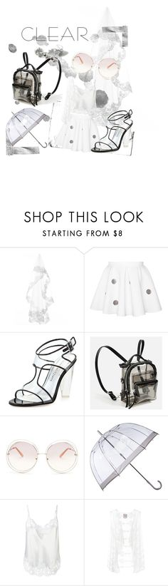 """""""Clear"""" by amanda-krogstrup ❤ liked on Polyvore featuring Stuart Weitzman, Chloé, Fulton, Givenchy, Dorothy Perkins, clear and Seethru"""