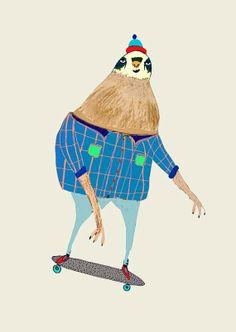 Sloth Loves Skateboarding. Digital art print. Kids decor, Children's Art, Sloth Art, Skateboard Print., $30.00