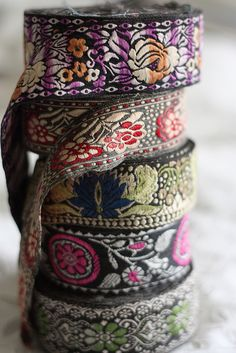 The beauty of the textiles have been converted in to ribbons. Indian Textiles, Passementerie, Fabric Ribbon, Fabric Tape, Sewing Notions, Haberdashery, Ribbon Embroidery, Folklore, Band