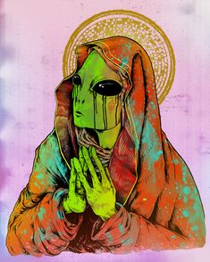 'Praying Alien' Tapestry by sFatalitys Arte Dope, Dope Art, Arctic Monkeys, Psychedelic Art, Trippy, Art Alien, Alien Aesthetic, Alien Tattoo, Psy Art