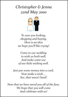 Wedding Gift Poem Template : Wedding Gift Poem on Pinterest Wishing Well Poems, Wedding Poems ...