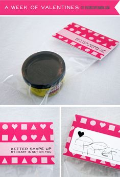 "playdough valentine with printable  ""Better shape up...My heart is set on you."""