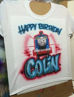 Happy Birthday Shirt Thomas The Train By AmericanAirbrush On Etsy Airbrush Shirts Personalized Clothing