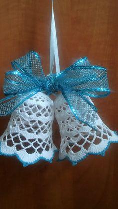 Crochet Christmas Ornaments, Christmas Crochet Patterns, Crochet Snowflakes, Christmas Knitting, Christmas Bells, Christmas Crafts, Crochet Angel Pattern, Crochet Applique Patterns Free, Filet Crochet Charts