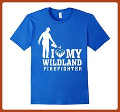 Mens I Love My Wildland Firefighter XL Royal Blue - Careers professions shirts (*Partner-Link)