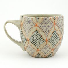 Teacup - Ceramic Mug - Cup with orange, navy and purple…