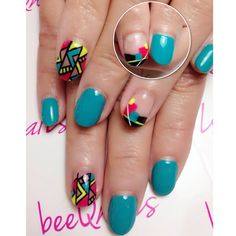 Joey's choice of #cheerful #neoncolors #nailart to brighten up her life 😎