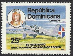 The airplane Colón and pilot Frank Feliz Miranda, Sr. is featured on the Dominican Republic stamp Scott #1018 (22 Dec 1987). 500,000 stamps were issued to mark the 50th Anniversary of the Pan American flight for the Proposed Columbus Lighthouse.   The Airplane Colón was the only one of four (Colón, Niña, Pinta and Santa María) that made it back on the Goodwill flight to South America in 1937. The others crashed in the side of a mountain after flying too low over towns near Cali, Colombia.
