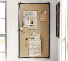 Industrial Framed Pinboard #potterybarn, Josh's office, above the new love book case.