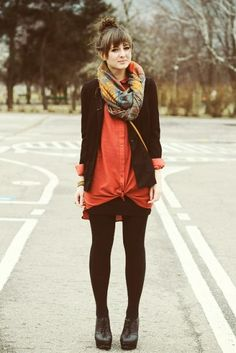 Cold-Weather Outfit Inspiration! - love the knotted shirt/dress
