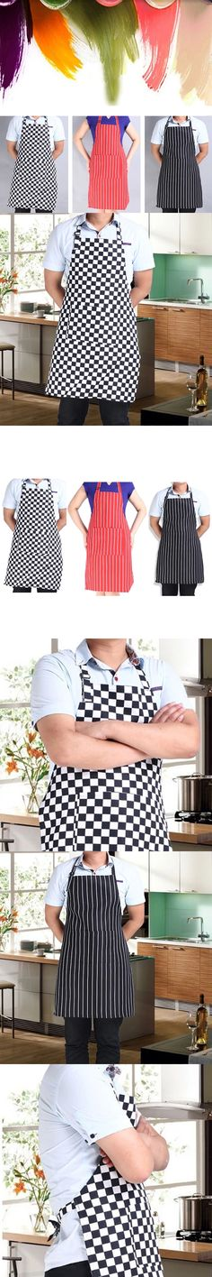 Hot Stripe Bib Polyester Apron with 2 Pockets Chef Waiter Kitchen Cook New Tool 32.2cm X 17.2cm
