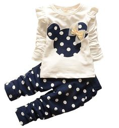 Love this cute little outfit for my baby girl. She looks great in polka dots! The little bow is adorable. Baby outfit ideas. Eden Babe New kids clothes girl baby long rabbit sleeve cotton casual suits baby clothing (Blue,12-18 Months) Found this on amazon! (affiliate)