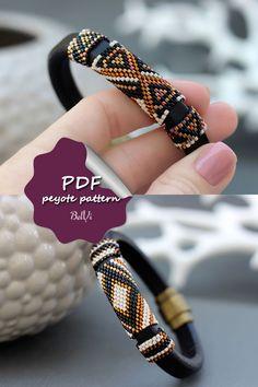 Peyote pattern for Leather bracelet Beading tutorial Regaliz pattern Peyote Beading Patterns, Bead Crochet Patterns, Bead Embroidery Patterns, Bead Embroidery Jewelry, Beaded Bracelet Patterns, Beaded Bracelets Tutorial, Loom Beading, Beaded Embroidery, Beaded Jewelry