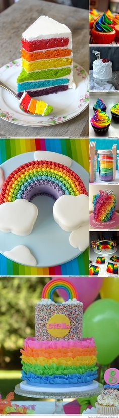 Rainbow Cake / Cupcakes - would be pretty, even if we only used 3 or 4 color layers (Red, pink, purple, turquoise?) to go with Elmo/Abby theme!
