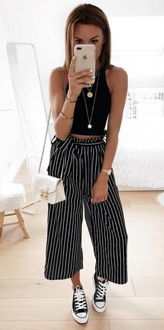 70 Street Outfits that'll Change your Mind - OOTD Casual Chic, Casual Street Style, Trendy Outfits, Summer Outfits, Fashion Outfits, Dress Outfits, White Culottes Outfit, Coulottes Outfit, Bougie Outfits