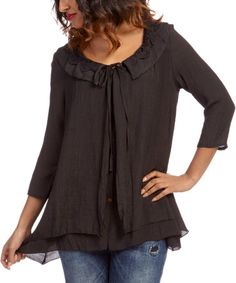 Love this Black Crochet Button-Up Top by Lady Noiz on #zulily! #zulilyfinds