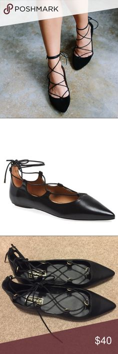 Topshop lace up flats NWT. Size 7.5. Soft leather. Sturdy flats! Topshop Shoes Flats & Loafers