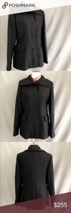 """NWT! Cole Haan Virgin Wool Coat New with tags! Cole Haan Virgin Wool Coat.  Gorgeous, gorgeous, gorgeous jacket! Size 12. 100% Virgin wool with a nylon/acetate lining. Lace trim around neckline, pockets and sleeves. Has 4 pockets; 2 exterior, 2 interior. Funnel neck provides extra coverage and warmth around face when worn up. Take a look at the pics to see details I've missed. Superb quality! No defects. Retail $695  Measurements laying flat: Shoulder to shoulder 16"""" Chest 20.5"""" Waist 18""""…"""