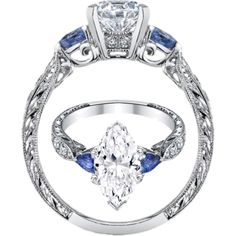 Marquise diamond Engagement Ring Blue Sapphire Pear side stones Hand engraved