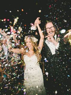 Available at most party supply stores, confetti poppers are sure to provide a bang and a fun explosion of color for a wedding exit toss.