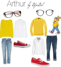 aha oh arthur. keeping my mornings interesting in my early 20s lol. i couldn't wear those heinous shoes, but i want red flats and a yellow sweater. and i have the glasssesss :D