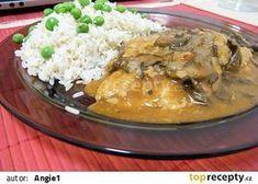 Sojové maso na houbách s rýží recept - TopRecepty.cz Tofu, Family Meals, Spaghetti, Food And Drink, Vegetarian, Chicken, Meat, Vegetables, Ethnic Recipes