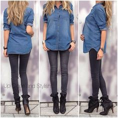Today - jean shirt (got it earlier this year), 'Super skinny, super low waist' jeans and boots. Cute Maternity Outfits, Stylish Maternity, Maternity Wear, Maternity Fashion, Maternity Style, Stylish Pregnancy, Maternity Clothing, Baby Bump Style, Mommy Style