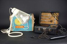 Bijzondere metalen Philips Ultraphil lamp en Provita hoogfrequent violet licht generator - Nederland en Duitsland - jaren '50
