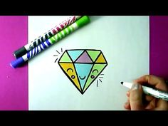 HOW TO DRAW A CUTE DIAMOND - EASY DRAWING TUTORIEL