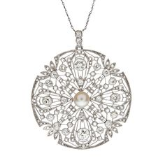 Art Deco Diamond & Pearl Filigree Platinum Large Pendant