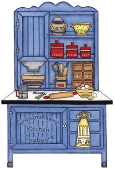 This image would be perfect for kitchen printables or for decoupage. Kitchen Drawing, Kitchen Art, Vintage Kitchen, Kitchen Ideas, Paper Doll House, Paper Houses, Kitchen Clipart, Paper Art, Paper Crafts