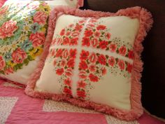 Vintage Pink Floral Handkerchief Pillow by TantumInteriors on Etsy, $35.00