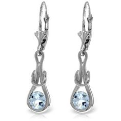 14K Solid White Gold Leverback Earrings Natural Aquamarine - 4233-W