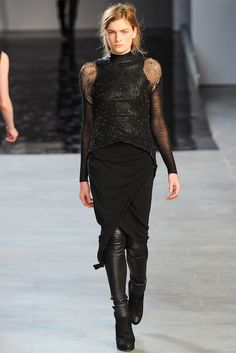 mmm loose knit sweater, sheer sleeve, leather mockneck,so much yum
