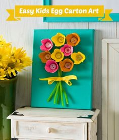 If you need an easy kids' craft idea with great results, this egg carton art is fun and sure to please. Just add Sparkle Mod Podge. art crafts EASY Egg Carton Art on Canvas (for Kids) - Mod Podge Rocks Craft Activities, Preschool Crafts, Easter Crafts, Holiday Crafts, Kids Crafts, Summer Crafts, Family Crafts, Recycled Crafts For Kids, Garden Crafts For Kids