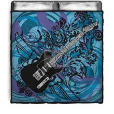 Is she into music, this Rock N Roll comforter or duvet cover is artistic and fun!