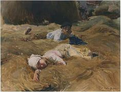 Joaquín Sorolla, Siesta, Asturias 1903. Óleo sobre lienzo, 36 x 46 cm, Colección particular
