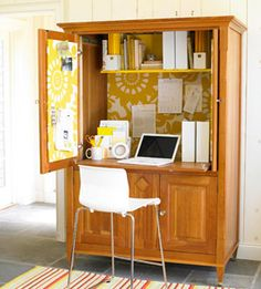 Turn your boring armoire into a chic office space with these easy tips! http://www.lhj.com/style/decorating/easy/chic-and-cheap-ways-to-refresh-your-furniture/?page=3
