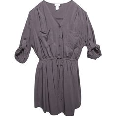 Rolled Sleeve Shirt Dress ($33) ❤ liked on Polyvore featuring dresses, shirt-dress, elastic waist dress, longsleeve dress, pocket dress and v neck dress