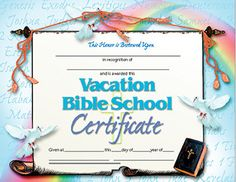 Free printable vacation bible school certificate kids for Bible study certificate templates